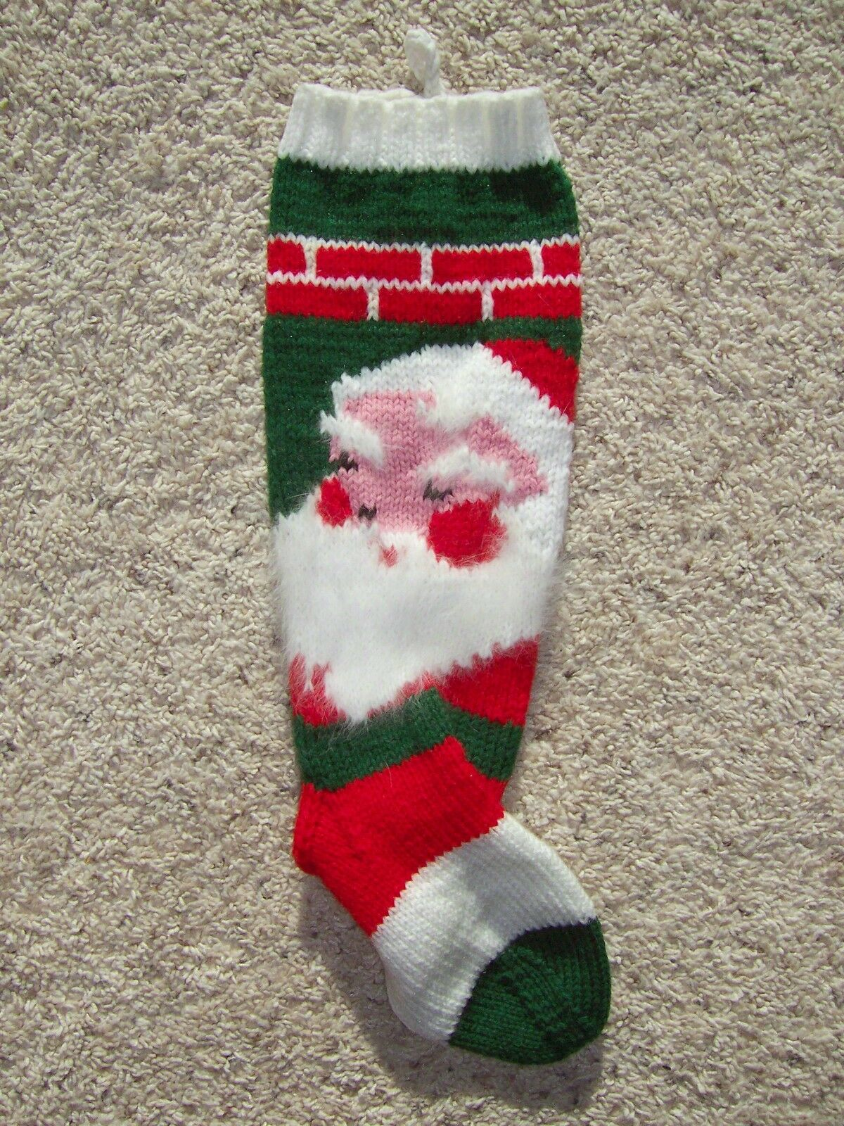 VINTAGE 1943 SANTA HAND KNIT PERSONALIZED CHRISTMAS STOCKING WITH ...