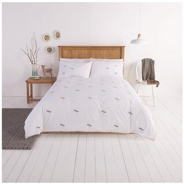 Sainsburys Floral Embroiderd Rural Retreat Weiß Double Duvet Set Bed Linen NEW