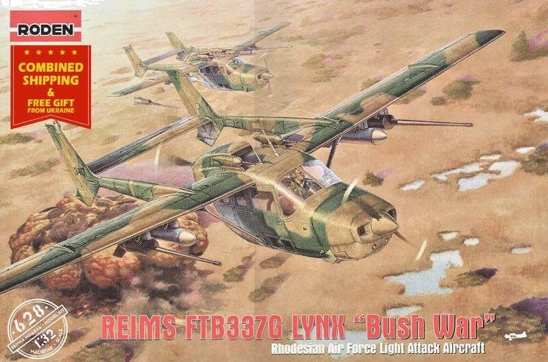 PLASTIC MODEL KIT AIRCRAFT REIMS FTB337G LYNX - BUSH WAR 1 32 scale RODEN 628