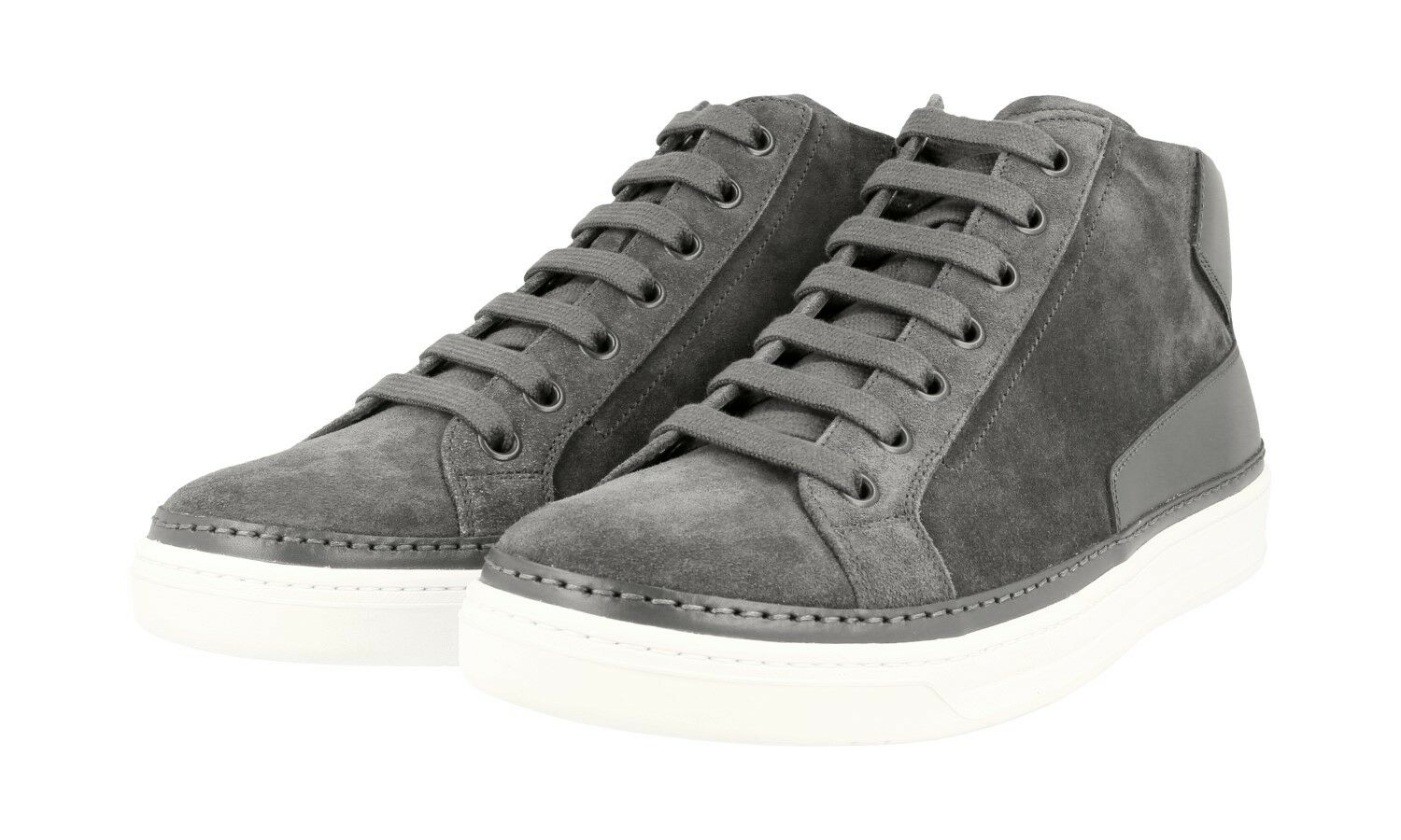 AUTHENTIC LUXURY PRADA SNEAKERS SHOES 4T2863 GREY SUEDE NEW US 10