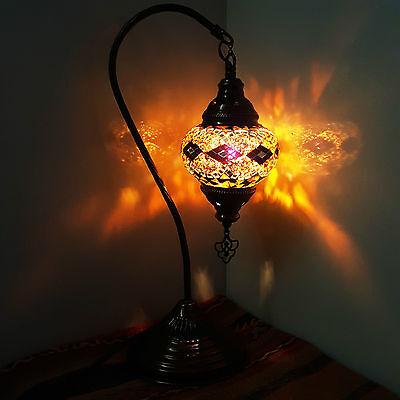 Turkish Moroccan Colourful Mosaic Lamp Light Tiffany Glass Desk Table Lamp