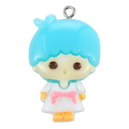 10X Blue//Pink Short Hair/&Long Hair Girl Cartoon Pendant DIY Jewelry Party Making