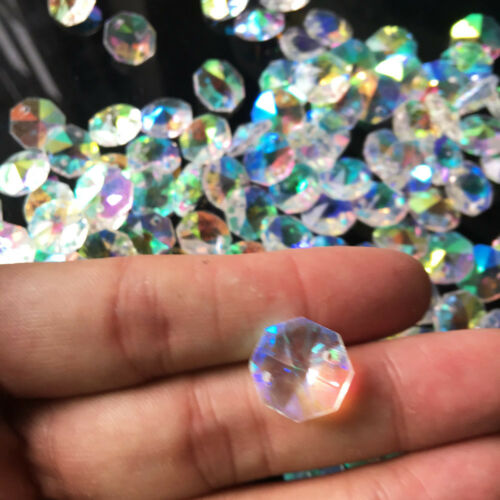 20X Rainbow Crystal Bead AB Chain PENDANT Decor Glass Lamp Prism Chandelier DIY