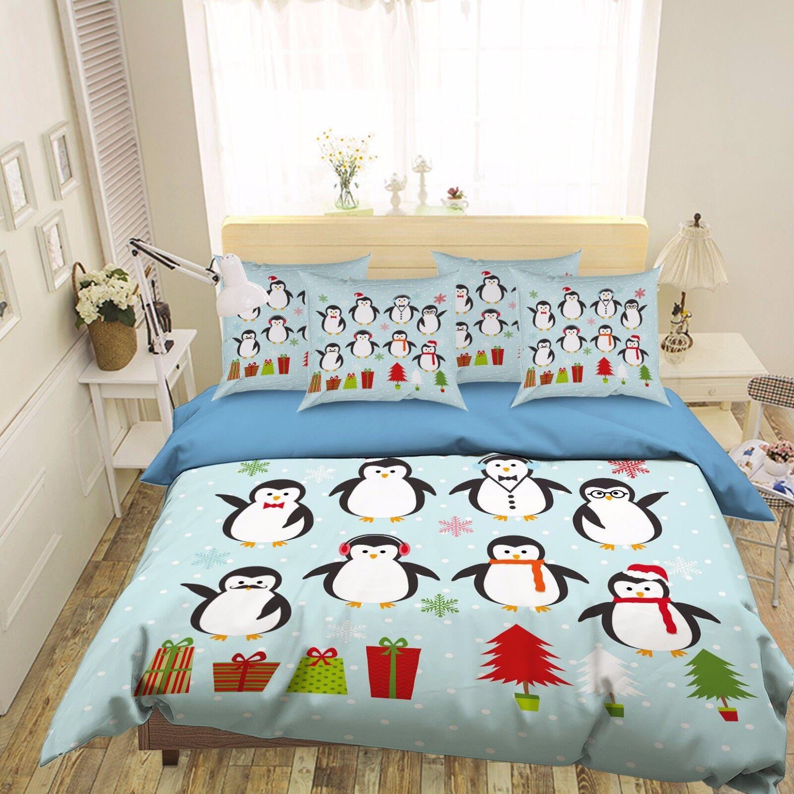3D Christmas Penguin 474 Bett Pillowcases Quilt Duvet Startseite Set Single Königin CA