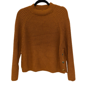 Topshop-PETITE-Brown-Knitted-Popper-Side-Crewneck-Sweater-Fashion-Women-039-s