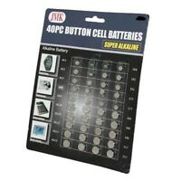 40 Pc Alkaline Button Cell Batteries Assorted Sizes 357 364 377 386 389 392 398