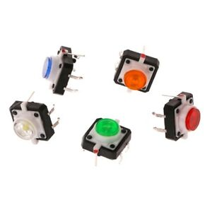 Details About 10 Pcs 4p Led Light Momentary Tactile Tact Push Button Switch 12x12x7 3mm