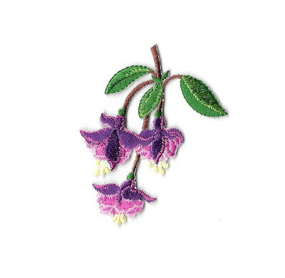 Hanging Plant Embroidered Iron On Applique Patch Flower Tropical Fuchsia
