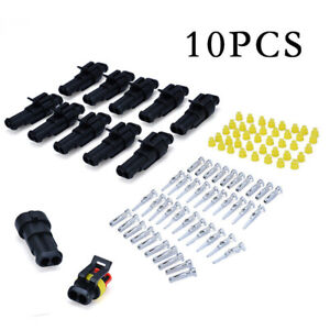 10 Sets 2-Pin Way 12V Electrical Wire Connectors Plug Cable Waterproof Car ATV