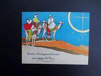 Vintage Unused Deco Xmas Greeting Card Three Wise Men on Decorated Camels