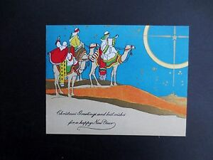 Vintage-Unused-Deco-Xmas-Greeting-Card-Three-Wise-Men-on-Decorated-Camels