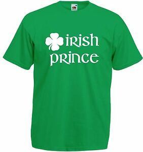 Enfants-Irlandais-Prince-SS-T-Shirt-Vert-Garcons-Filles-Irlande-St-Patrick-039-s-Jour-Cadeau-Top