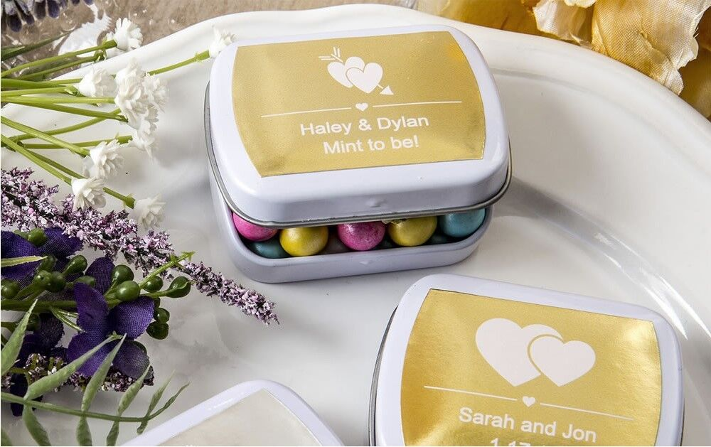 60 Personalized Weiß Box Mint Tins Wedding Bridal Baby Shower Party Favors
