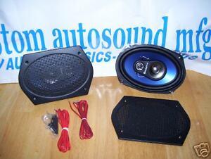 "200 Watt 3-Way 6/""x9/"" Rear Speakers with Retro Black grills Custom Autosound *a"