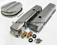 58-86 Sbc Chevy 350 Finned Polished Aluminum Valve Covers And Air Cleaner Kit