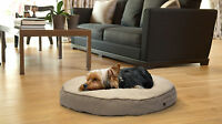 Furhaven Faux Sheepskin / Suede Round Deluxe Pillow Pet Bed