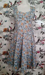 BNWT-Joe-Browns-Azul-Elastico-Floral-Retro-Midi-Vestido-Talla-10-Victoriano-De-Te