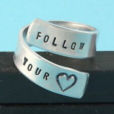 Follow Your Heart Ring Adjustable Twist Aluminum Ring Handstamped Ring