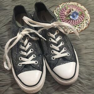 abd323ab4dcb ... low top trainers 5983a 8d6da  clearance la foto se está cargando womens  sz 7 plata brillo converse all star 1a43a 4b805