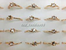Wholesale lots 10pcs Crystal Rhinestone Gold Plated Wedding Rings FREE