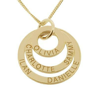 9ct Gold Plated Personalised Three Ring Disc Family Mothers Pendant Necklace