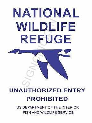 "Réplica 1930s National Wildlife Refuge Vintage signo de aluminio 8/"" X 12/"" Nuevo"