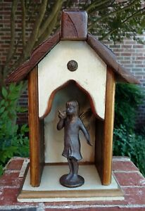 Handmade-Recycled-Antique-Heartwood-Pine-Collectible-034-Angel-Creche-034