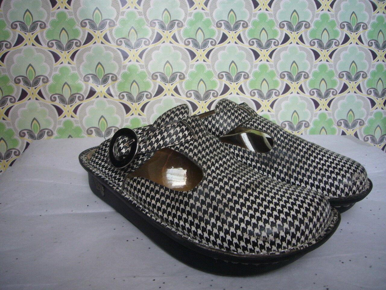 Alegria PG Lite Houndstooth Leather Slip on Clog - Größe 40  US 9.5-10 Comfort