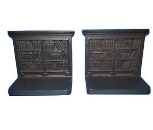Antique-Bradley-And-Hubbard-Cast-Iron-Bookcase-Bookends-Set-Hard-To-Find
