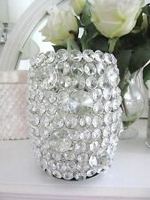 "CRYSTAL 8"" High DECORATIVE CANDLE HOLDER~ Sparkling Faceted Crystal ~ New"