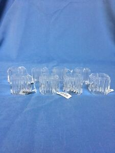 Vintage Clear Acrylic Ribbed Square Cut Napkin Rings Set Of 8 Ebay