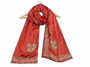 Om-Vintage-Dupatta-Art-Silk-Hand-Beaded-Zardozi-Brown-Stole-Hijab-Scarves-W-1955