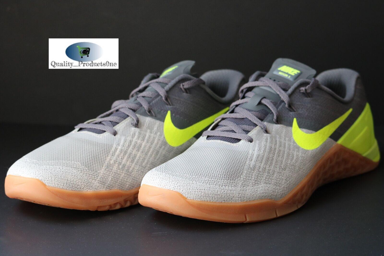 Mens Nike Metcon 3 Dark Grey/Volt/Pale Grey 852928 004 Size 13