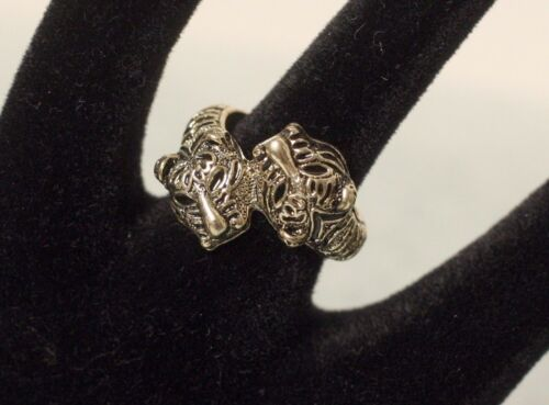 VINTAGE GOLD COLOURED METAL CAT RING-COSTUME JEWELLERY-CHIC-FREE POSTAGE EUROPE