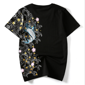 Mens Chinese Embroidery T-Shirt Sukajan Tee Cyprinoid Black White Plus Size