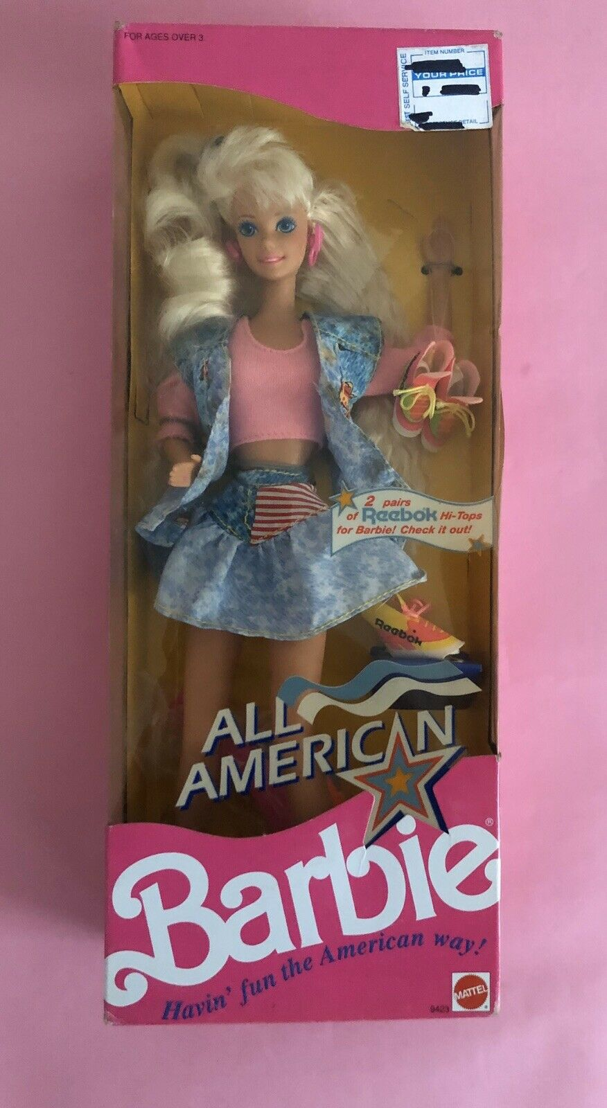 BARBIE ALL AMERICAN MADE IN MALAYSIA 1990 NRFB