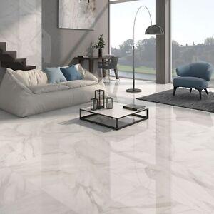 Marble Effect Porcelain Gloss 60cm x 60cm Floor Tiles Grey or Beige ...