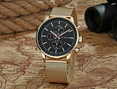 CURREN Men's Stainless Steel Mesh Band Analog Date Sport Quartz Wrist Watches XD