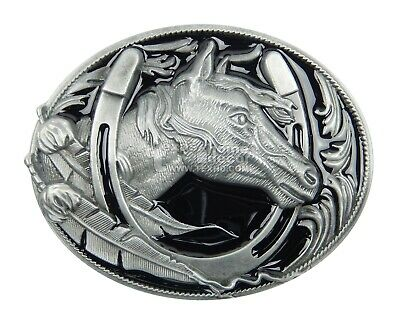 Horse Head Western Red Enamel Metal Belt Buckle