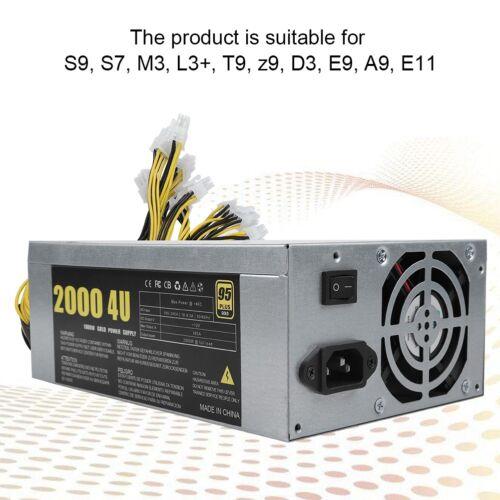 1800W//2000W Mining Power Supply 6Pin DC12V For S9 S7 M3 L3 T9 Z9 D3 E9 A9 E11