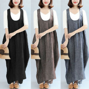 Women-039-s-Oversize-Retro-Ethnic-Loose-Shirt-Dress-Suspender-Skirt-Long-Maxi-Dress