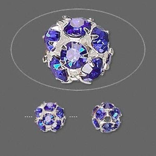 10 Silver Plated Brass Blue Rhinestone Crystal 8mm Round Beads *