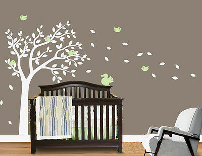 Cute Squirrel Birds Tree Fit Baby Room Vinyl Wall Paper Decal Art Sticker T113