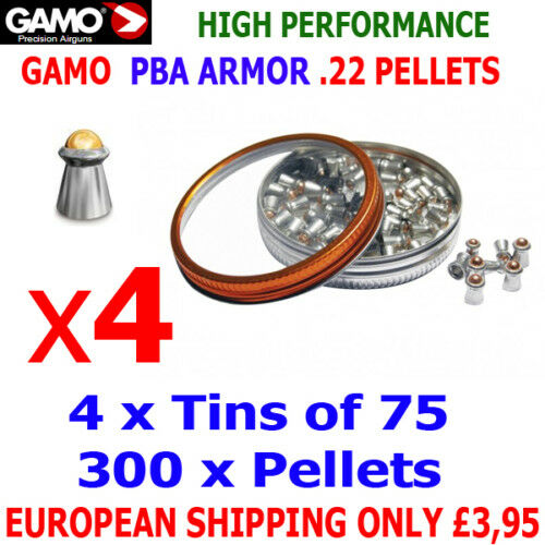 GAMO PBA ARMOR .22 Airgun Pellets 4 x75pcs NEW tins