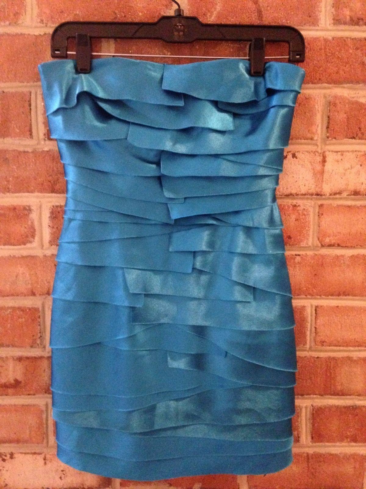 bbcbb090f277 BEBE Satin Teal bluee Pleated Exposed Pencil Dress Strapless XS Zipper  Stretch nszafx1473-Dresses