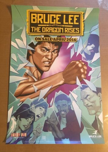 BRUCE LEE THE DRAGON RISES PROMO POSTER FOR COMIC BOOK 12X18 INCHES THIN PAPER