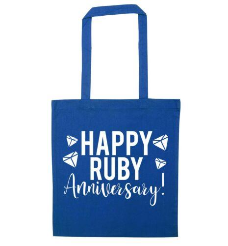 tote bag wedding anniversary keepsake gift bag  6166 Happy ruby anniversary