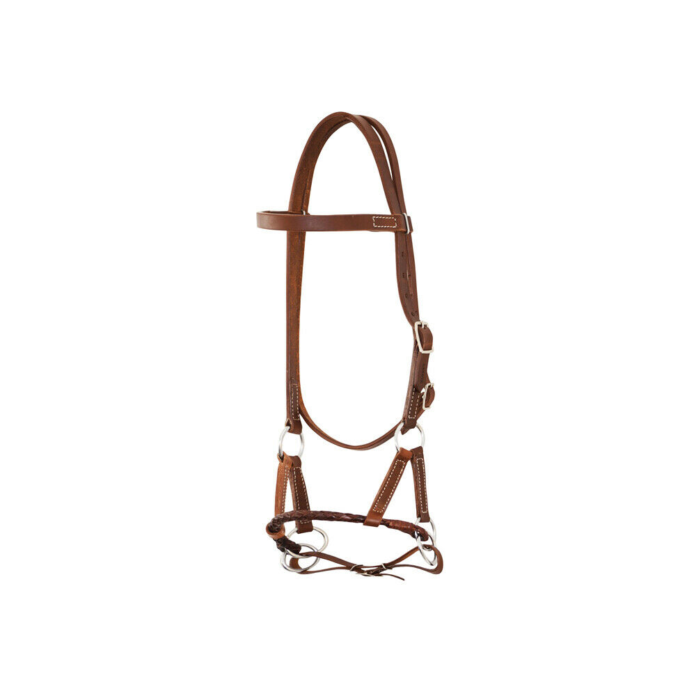 Side Pull Leather Harness without bite cavezzina Leather Braided pool's