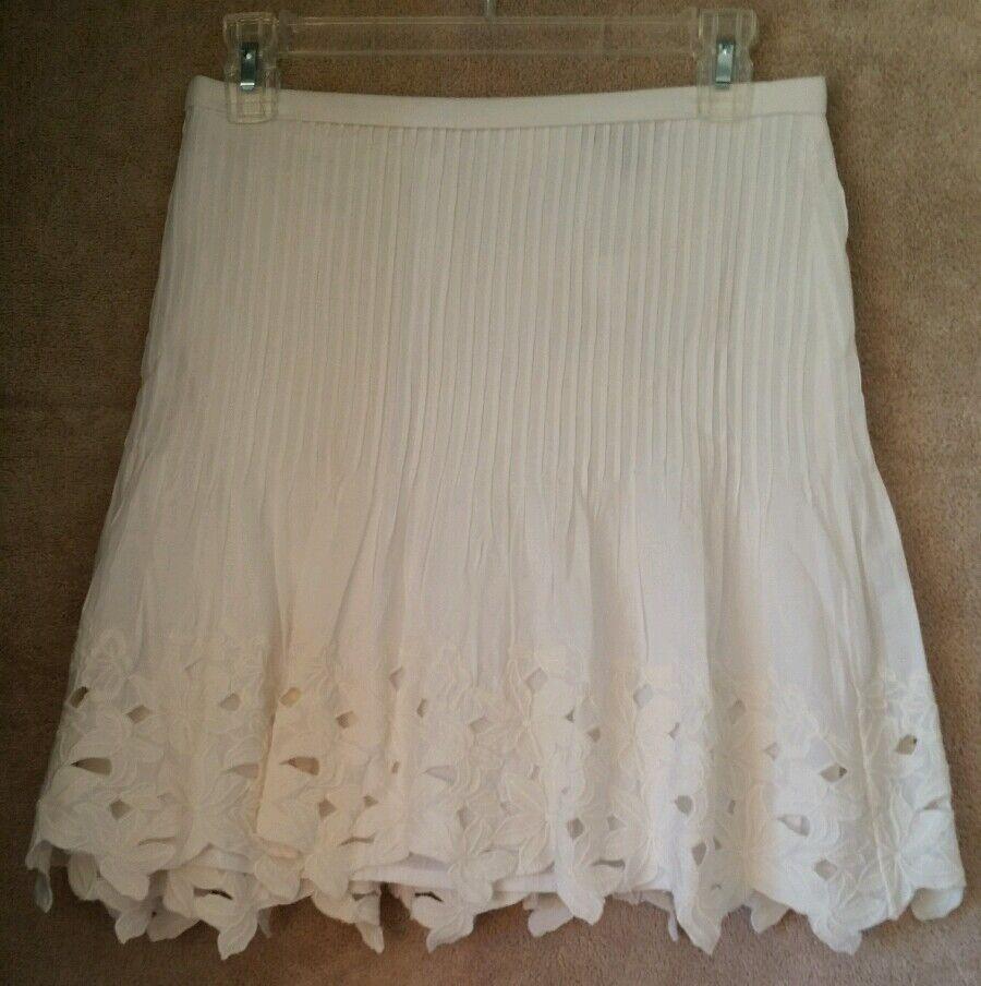J Crew Eyelet floral mini skirt white size 12  F2318