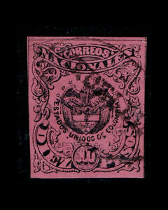 VINTAGE: COLOMBIA 1870 USD SCOTT 65 $ 67.50 LOT1870CXCV